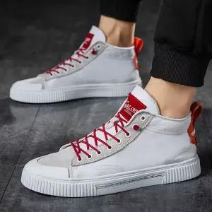 best selling Animal husbandry shark men's shoes summer breathable 2019 new wild trend shoes men's casual high-top canvas shoes men
