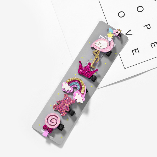 5 Pcs/lot Glitter Cartoon Princess Hair Clips Girls Hair Pins Toddler Hair Accessories Dropshipping