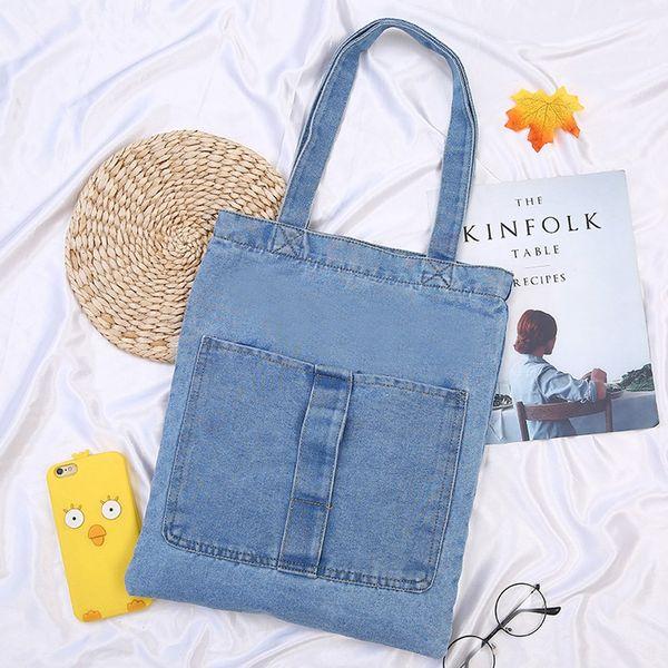 Women Retro Printing Large Capacity Bag Denim Shoulder Shopping Bags Simple Handle Bags bolso mujer#50