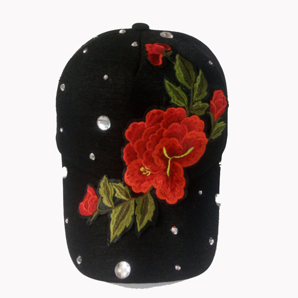 The Best Snapback Hats Diamond Vintage Snapbacks Womens Snapback Hats Ladies Dress Hats Custom Made Snapback with Embroider Peonies for sale