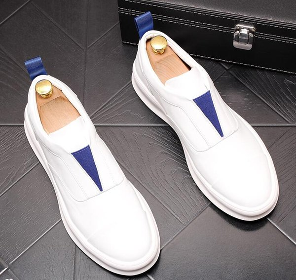 Brand Designer luxury Men Loafers Flats White sneakers Breathable Slip-On Male Britain platform Homecoming Party Wedding Christmas shoes