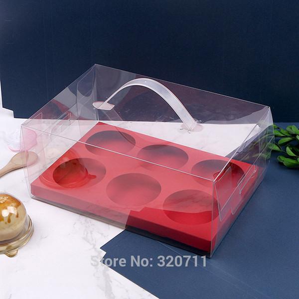 100pcs/lot Transparent PET Plastic Green Egg Yolk Crisp Packaging Box Portable Cake Gift Box 6 Round Paper With Handle