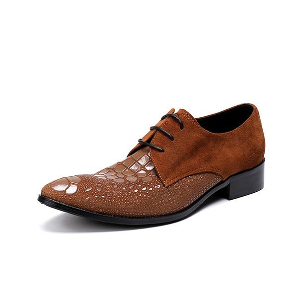 Emboosed Lether Italien Mode Oxfords Schuhe Mann 2019 Lace up-Flecken Suede Brown Kampf Schuhe Herren Martin Sapatos Schuhe