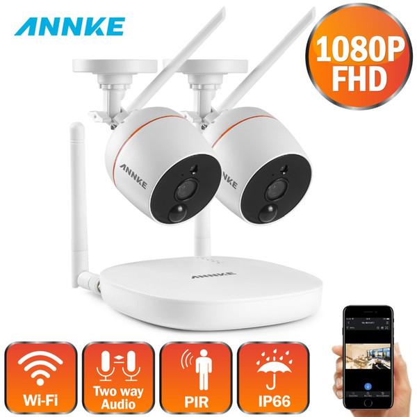ANNKE 1080P FHD 4CH Kit WIFI NVR sans fil Appareils photo d'extérieur Kit de vidéosurveillance IR H.264 Système de vidéosurveillance Kit de surveillance TF Carte