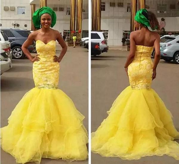 2020 Afrique New Lace Prom jaune robes chérie perles Afrique du Sud Sirène Robes de soirée concours Miss Robe Robes De Party robe