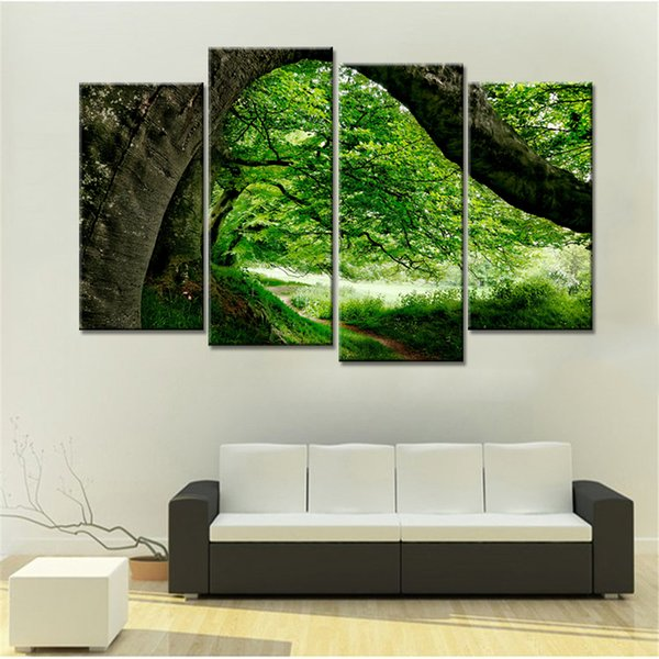 4 Panels Drop Shipping Colorful Big Tree Leaves Landscape Painting Canvas Art Paintings Modern Home Wall Decor Modular Pictures