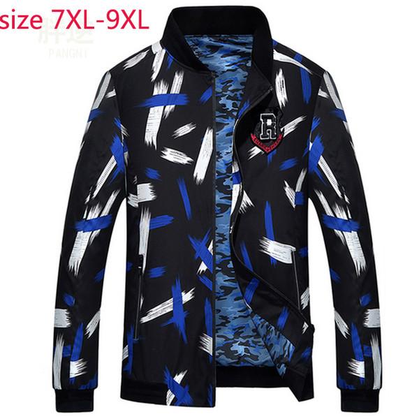 Nouvelle arrivée automne printemps mode super grand hommes veste manteau occasionnel manteau col mandarin imprimer mince hommes plus la taille 7XL 8XL 9XL