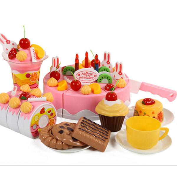 75Pcs DIY Pretend Play Fruit Cutting Birthday Cake Toy DIY Fruit Cream gift Set Children Kids Pretend Play Toys set Gift