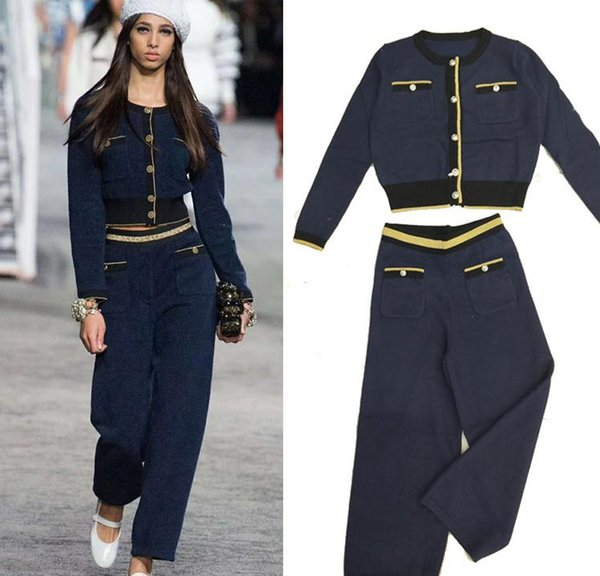 1212 2019 Autumn Free Shipping Brand Same Style Two Piece Sets Pants +Coat Crew Neck Empire Luxury QIAN