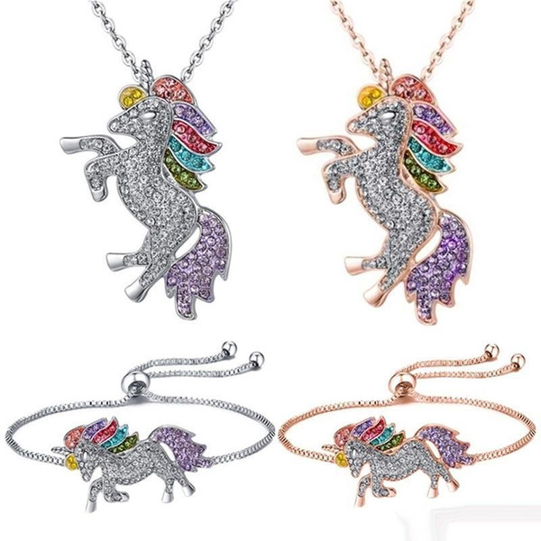 kids and women necklace colorful unicorn diamond pendant necklace children sweater chain jewellery accessories free shipping