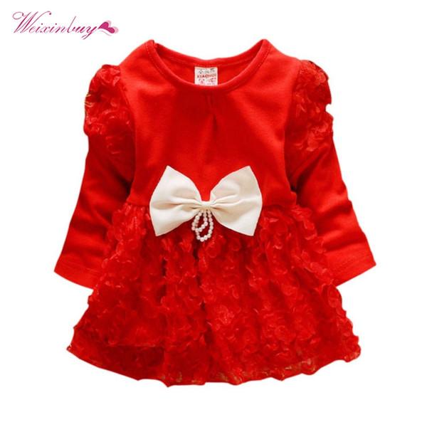 Bebê recém-nascido meninas princesa dress moda lnfant roupas grande bowknot lace rose flores vestidos bonito menina roupas de crianças