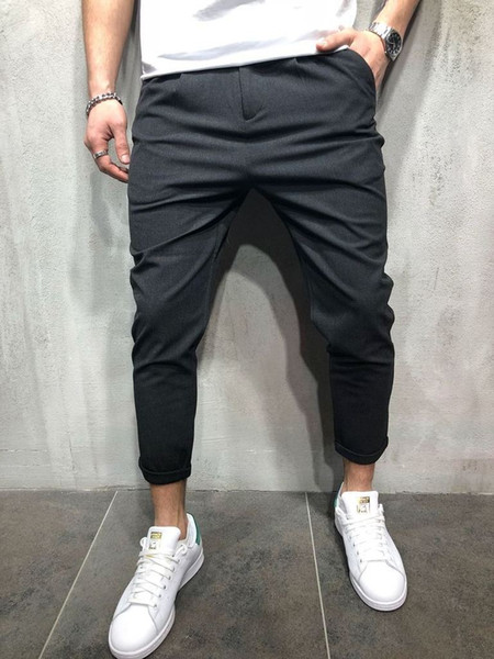 Pants 2019 Mens Skinny Slim Fit Bottom Casual Zipper High Pants with Pockets Workout Hip Hop Track Male Trousers