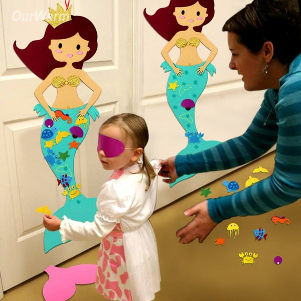 DIY Decorations OurWarm Hawaiian Party Game Pin the Tail on the Mermaid Birthday Party Decorations Kids Educational Toys for Children Roo...