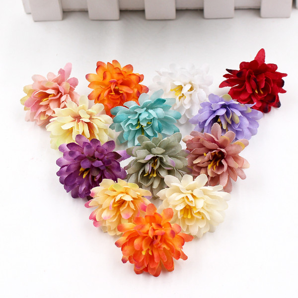 20Pcs/lot Gradient Carnation Artificial Flowers for Wedding Home Decoration DIY Craft Wreath Scrapbooking Gift Fake Flower Heads