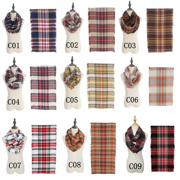 Fashion Plaid Ring Scarf Causal Autumn Winter Women Scarf Outdoor Travel Lady Novelty Loop Infinity Scarves TTA1290