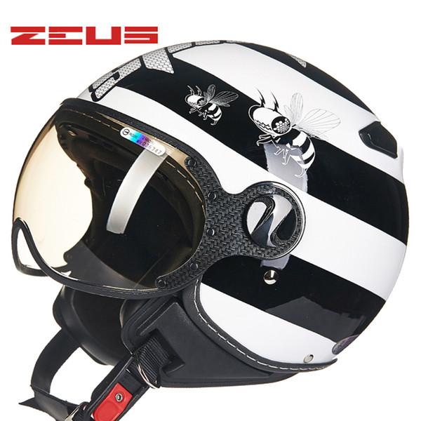 TAIWEN ZEUS Capacetes retro motocicleta metade capacete Moto Moto Capacete 210C casque