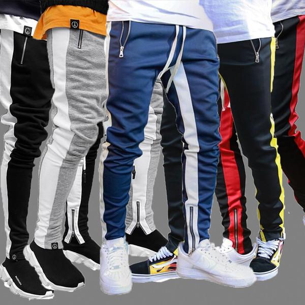 best selling Mens Track Pants NEW Fashion Hip Hop Fitness Streetwear Trousers Men Striped Jogger Skinny Joggers Sweatpants Pantalon Homme