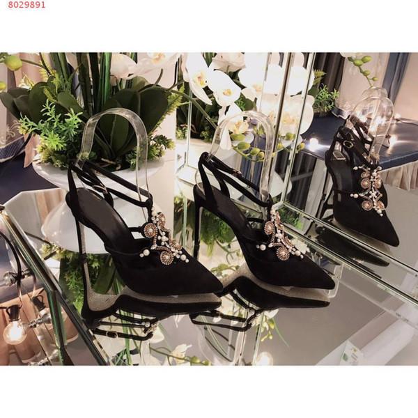 Scarpe col tacco femminile Gemma di seta Gemma di diamante Fine con tacchi a punta Sandali Baotou stringati con festa Socialite