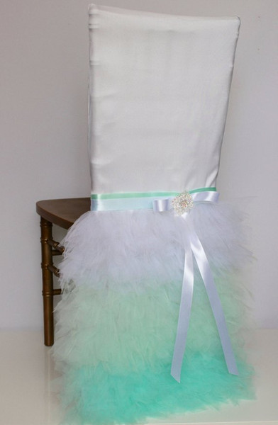 Custom Made Tiers Organza Crystals Wedding Chair Covers Beautiful Cheap Wedding Party Decorations Vintage Chair Sashes Supplies C06