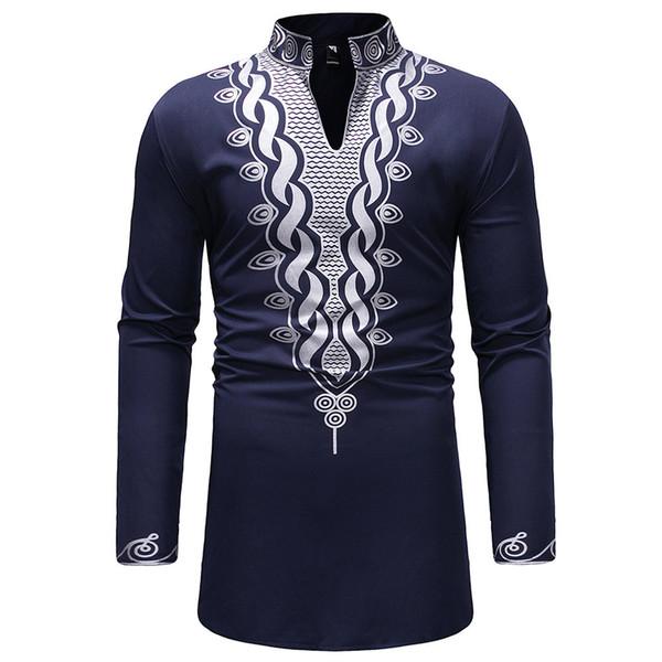 a0aeb9ea07c065e Бренд Мужские рубашки 2019 Весна социальная рубашка темно-синий роскошный  пуловер повседневная рубашка мужчины стенд