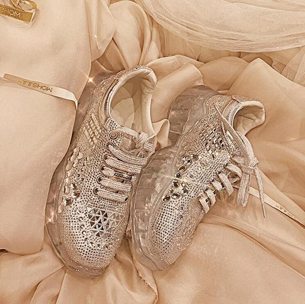 новый горный хрусталь одиночные туфли на толстой подошве повседневная обувь дикая мудрость копченая сетка красный кристалл старая обувь женская
