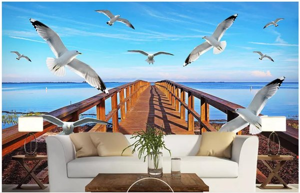 Papel tapiz fotográfico personalizado para paredes. Papel tapiz de pared 3 d. Cielo de mar. Puente de madera Gaviota. Fondo de TV 3D.