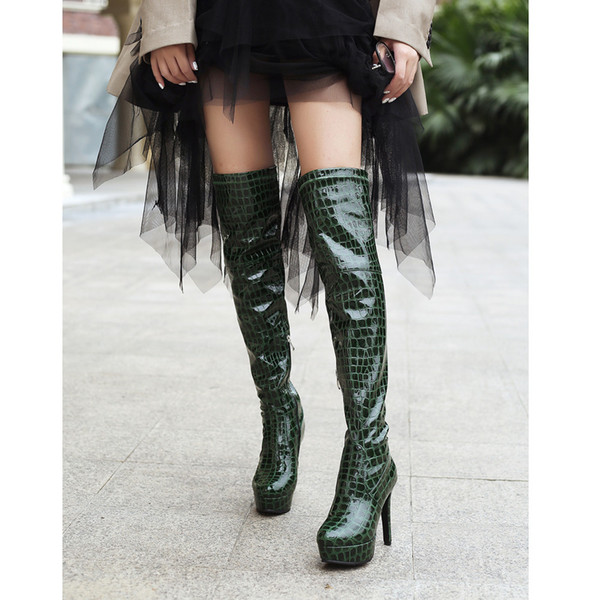 Women's Leather Boots Snakeskin Winter Boot Long Tube Stylish Sexy Over-the-Knee Shoes High Heel Stiletto Heels Warm Fur Botas
