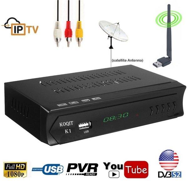 KOQIT K1 Récepteur Décodeur TV Box Numérique DVB S2 Récepteur Satellite Satellite DVB-S2Tuner IPTV m3u USB Wifi Youtube Vu Cccamd