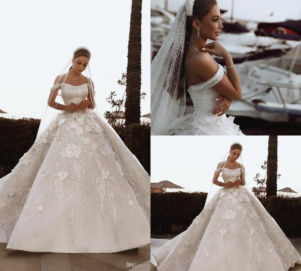 Luxurious Arabic Dubai Wedding Dresses Beadings Crystals Hand Made Flowers 3D Appliques Sequins Puffy Country Wedding Dress Bridal Gowns