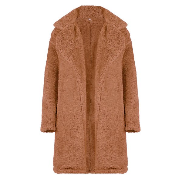 Autumn Winter Hot Casual Loose Large Size Women Plush Long Jacket Fashion Lapel Solid Color Plush Wild Long Out Ladies Coat