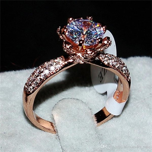 Vintage jewelry Flower type solid 925 silver&rose gold Ring Luxury 2CT Diamond Rings Finger Engagement Wedding Eternal Band RING For Women