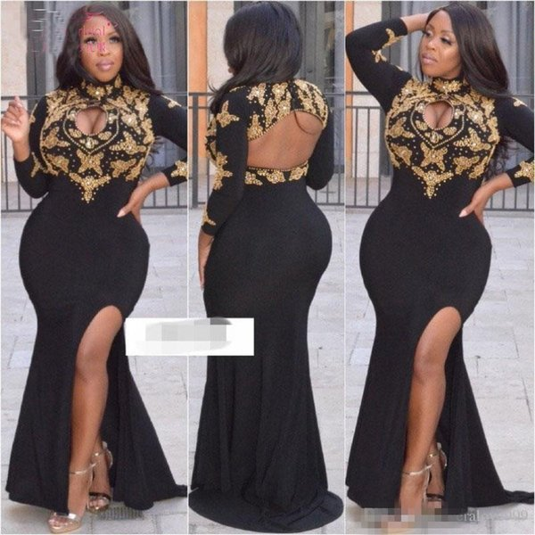 2019 Long Sleeves Plus Size Dubai Prom Dresses Mermaid Gold Beadings Black Evening Dresses Open Bust Women Formal Gowns