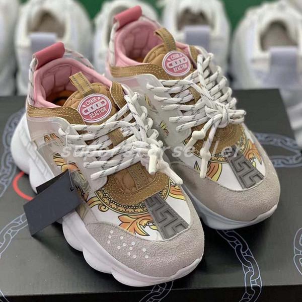 Versace chain reaction versaces Zapatillas de deporte As Hombre Zapatillas de deporte para mujer Peso ligero Chainz Linked Zapatos de suela de goma Diseñador de marcas de lujo Moda Chaussures