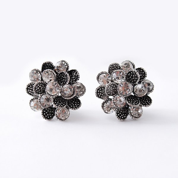 Flower style women's earrings clips,plated ancient silver clip on earrings crystal ear clip without pierced high quality