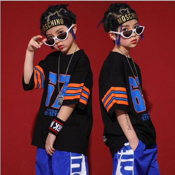 Enfants Hip Hop Ballroom Dance Vêtements Filles Garçons Jazz Carnaval Danse Costumes T-shirt Tops Jogger Pantalon Court De Danse