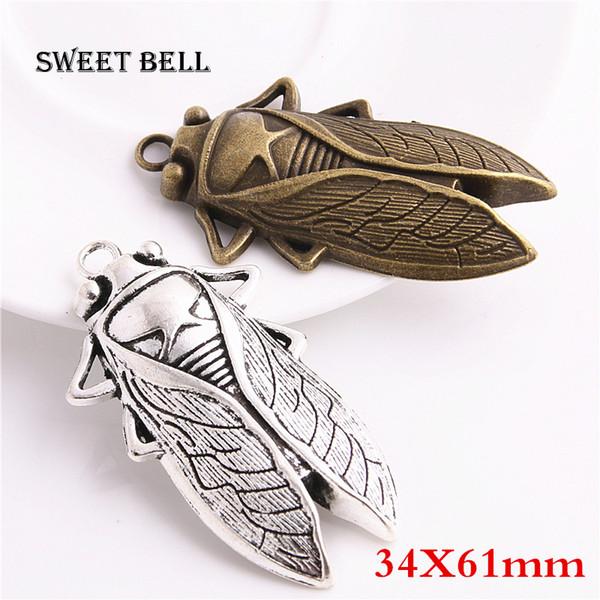 SWEET BELL 50 pcs 34 * 61mm Cicada Charmes De Mode Bricolage À La Main En Métal Charms BRICOLAGE Bijoux Animaux Cicada Pendentif Charmes 3C412