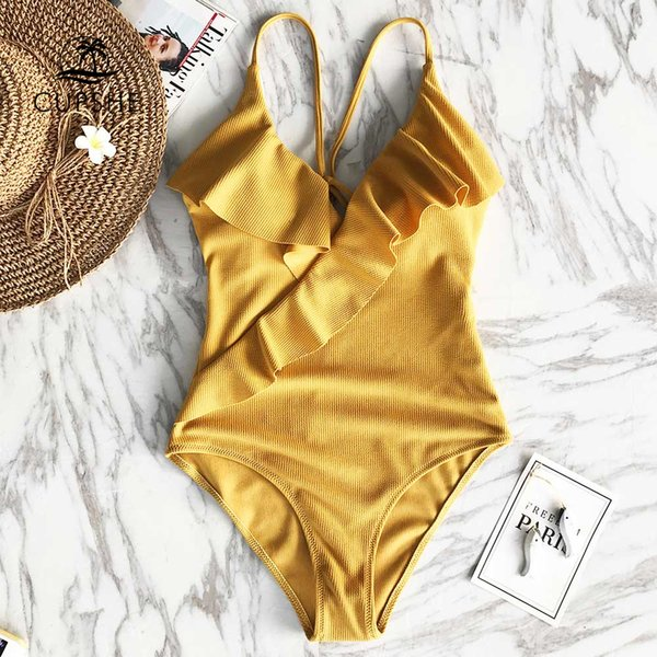 bca5f3f10fe17 2019 2019 CUPSHE Happy Ending Yellow Solid One Piece Swimsuit Falbala V  Neck Ruffle Sexy Monokini New Fashion Ladies Beach Bathing Suit Swimwear  From ...
