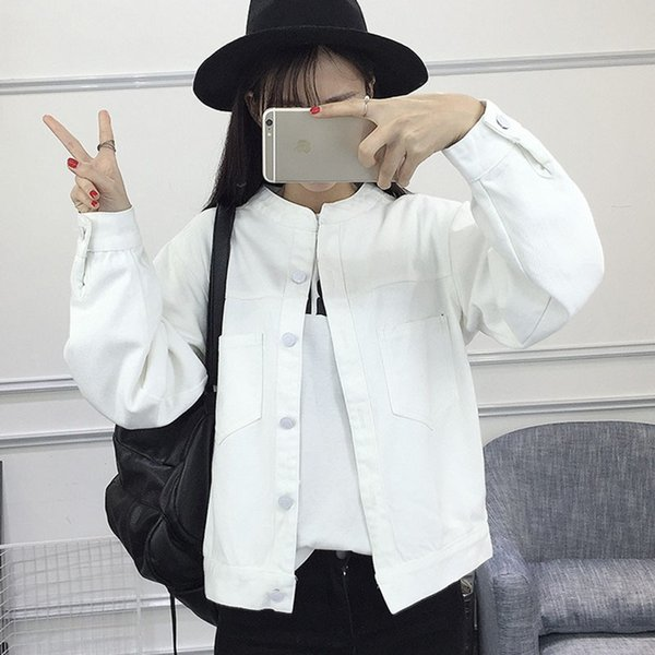 Printemps Automne Denim Jacket 2019 New Denim Vêtements Lâche Veste Brodée Version Coréenne De La Sauvage Short Chemise Femme B175