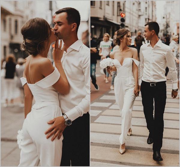 2019 Beach Off Shoulder Wedding Dresses Jumpsuits Satin Pants Custom Bridal  Gowns Plus Size Party Dress Robe De Mariée Bridal Bridal Gowns From ...