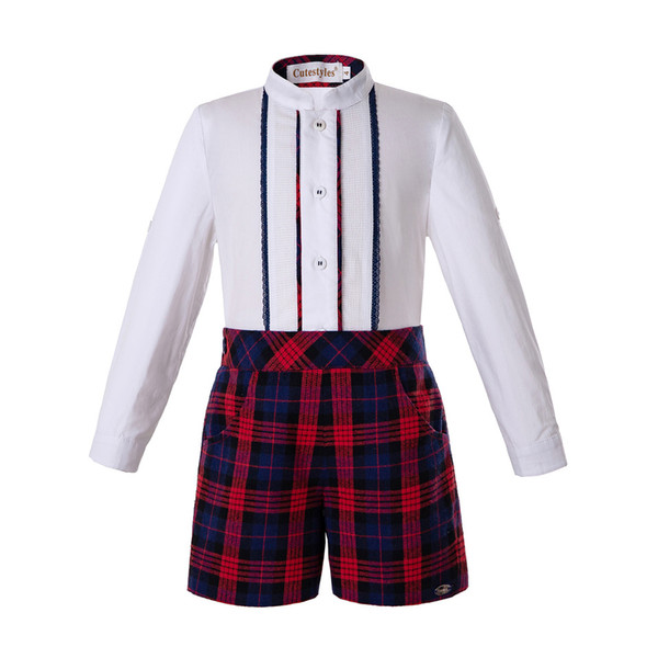 pettigirl autumn christmas boys clothing sets white shirt+red grid shorts boys clothes kids clothing b-dmcs207-a377