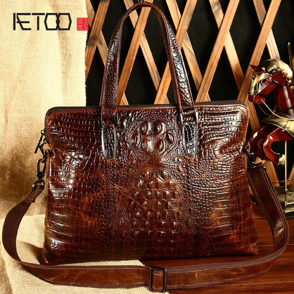 New Crocodile Embossed Man Business bags for women Handbag with brand Crossbody Leather Briefcase designer tote vintage Best Free shipping