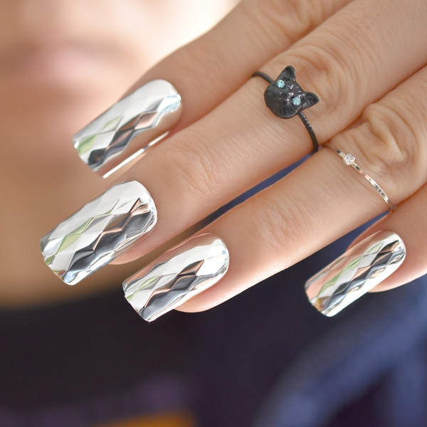 Fashion Metallic Silver False Metal 3d Rhombus Pattern Long Square Fake  Nails Cool Style Art French Tips False Nails How To Do Acrylic Nails From