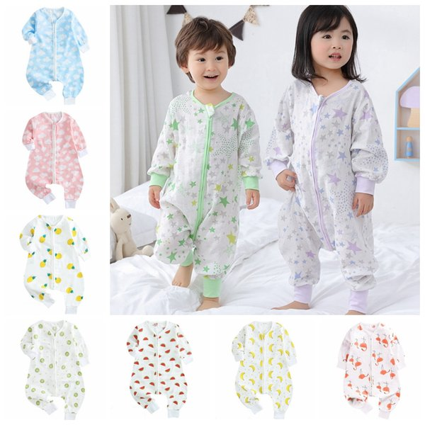 Baby Sleeping Bag Cartoon Kids Romper Sleep Sacks Children Kick Quilts Long Sleeve Toddler Home Clothes 7 Designs YW3298