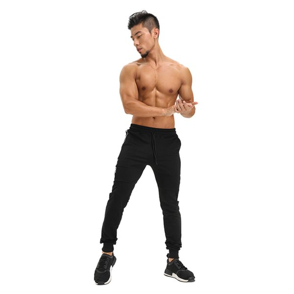 Men Long Casual Sports Pants Gym Elastic Sports Trousers Long Paragraph Casual Pants Classic Running Jogger Patch Pocket PantsD1