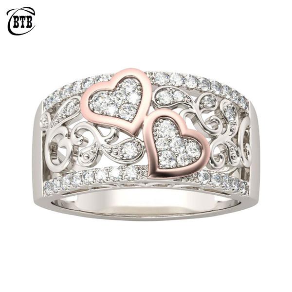 Мода Ювелирные Изделия Дизайн Обручальное Кольцо для Женщин Розовое Золото Цвет CZ Камень Женский Кольцо Пальца Любовь Подарки Груза падения