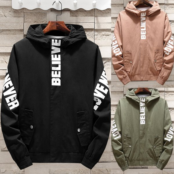 Men's Spring Autumn Fashion Casual Alphabet Printing Hooded Sports Jacket Coat Thin Men Coat 45#