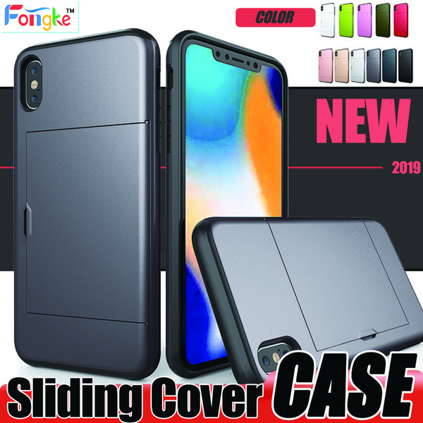 Sliding cover For iPhone 6 6s 8 7 Plus X XS MAX XR Case TPU+PC Double-layer protected Cell Phone cases For Samsung S10 S10e S9 S8 Plus Note9