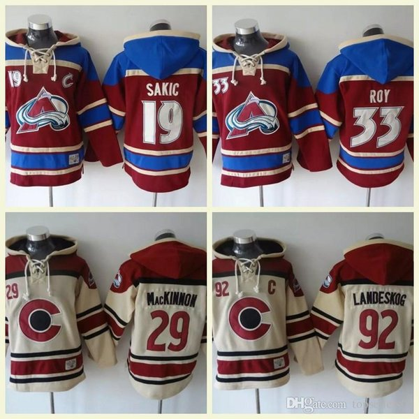Colorado Avalanche Hockey Hommes Maillots 9 Matt Duchene 33 Roy 29 Nathan MacKinnon 92 gabriel landeskog Sweat À Capuche Sweat-Shirts À Capuche