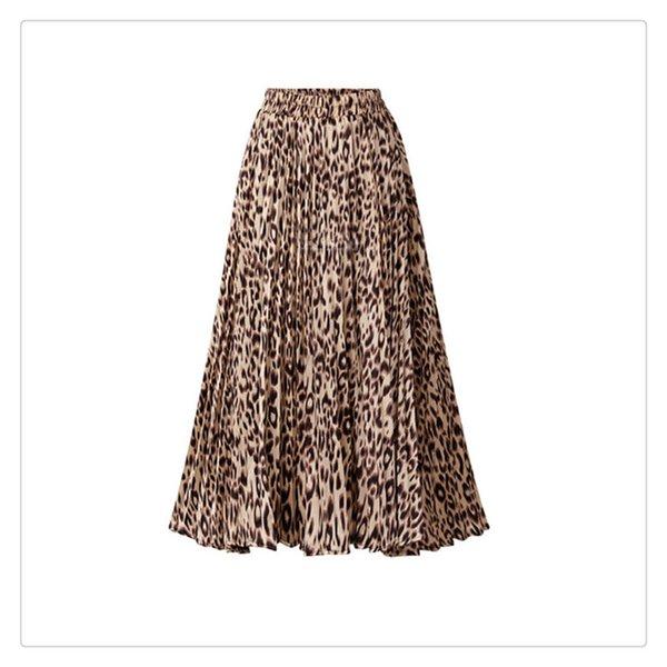 Женская юбка Мода Leopard Printing A-Line Длинная плиссированная юбка Большой размер Для летней женской одежды Все соответствующие длинные юбки