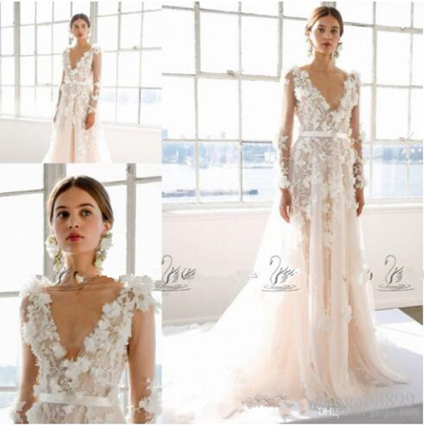 Marchesa Bridal Spring A-Line Wedding Dresses with Floral Applications Plus Size long sleeve V-neck A-line Garden Bridal Wedding Gown 343